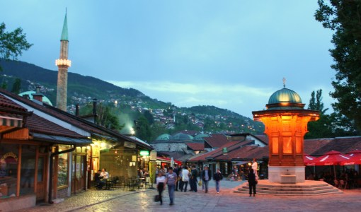 City center of Bosnian capital, Sarajevo.