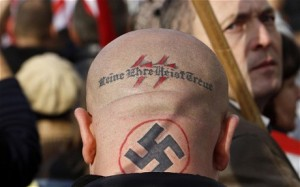 Supporter of Hungarian far right party Jobbik