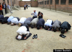 Muslim Imams during prayer for Holocaust victims at Auschwitz