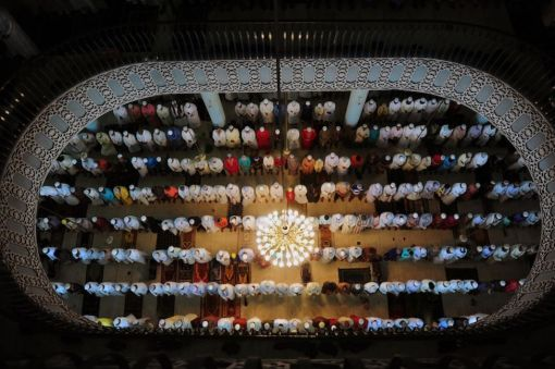 Bangladeshi Muslims offer Eid al-Fitr prayers at the National Mosque of Bangladesh, Baitul Mukarram in Dhaka on August 20, 2012. (Munir Uz Zaman - AFP/Getty Images)