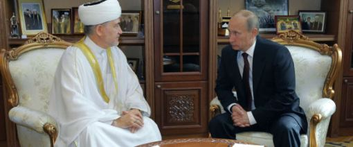 Russian Prime Minister Vladimir Putin, right, and Russia's top Muslim Cleric Ravil Gainutdin meet in a central mosque in Moscow, Thursday, Sept. 9, 2010. Photo by Associated Press.