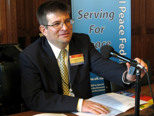 Prof. H. David Baer speaking at the European Leadership Conference of Universal Peace at UK Parliament, November 21, 2013.