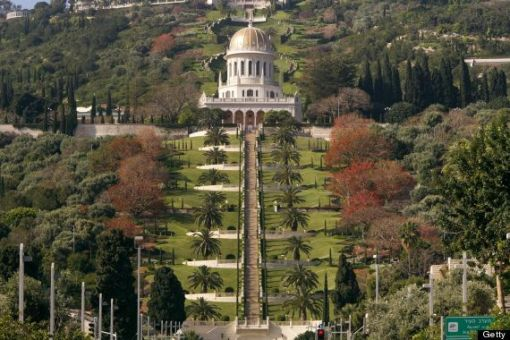 A general view shows the terraced gardens and the golden Shrine of Bab following renovation works at the Bahai World Center, in the Israeli port city of Haifa.