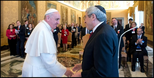 In this photo provided by the Vatican newspaper L'Osservatore Romano, Pope Francis meets with members of the American Jewish Committee, at the Vatican, Thursday, Feb. 13, 2014. | ASSOCIATED PRESS