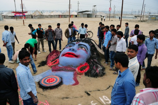 A sand sculpture of Hindu god Lord Shiva, made by Allahabad University students, is pictured on the eve of Maha Shivaratri festival at Sangam in Allahabad on February 26, 2014. (Sanjay Kanojia/AFP/Getty Images)