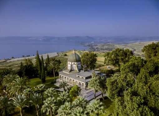 An aerial view of the Church of the Beatitudes by the Sea of Galilee near Capernaum, the traditional site where Jesus gave his Sermon on the Mount as told in the New Testament.