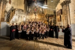A Greek Orthodox youth choir from the town of Beit Sahour sings in Bethlehem's Church of the Nativity, built on the traditional site where Jesus was born.
